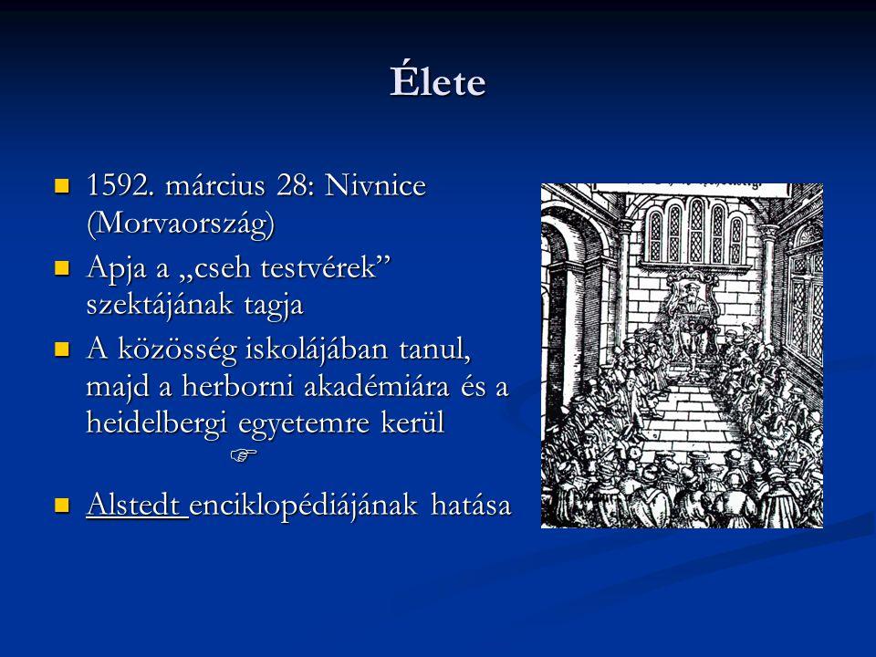 Munkásságának helyszínei:Fulnek - lelkész, tanár Lesno - tanár, igazgató Lesno - tanár, igazgató Anglia - London Anglia - London Svédország - Stocholm Svédország - Stocholm Lengyelország - Lesno Lengyelország - Lesno Magyarország - Sárospatak Magyarország - Sárospatak Németország - Hamburg Németország - Hamburg Hollandia - Amsterdam Hollandia - Amsterdam  1670- Amsterdam