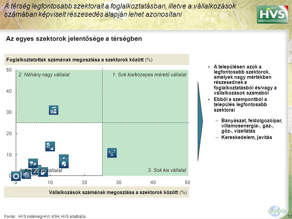 12 Forrás:HVS kistérségi HVI, KSH, HVS adatbázis Az egyes szektorok jelentősége a térségben A térség legfontosabb szektorait a foglalkoztatásban, ille