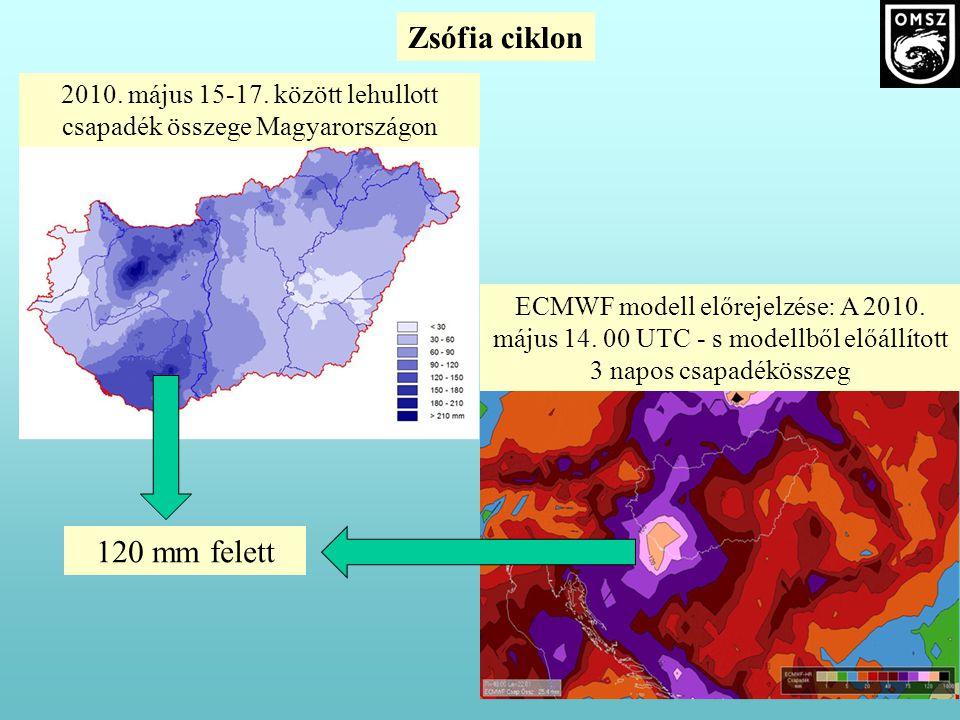 ECMWF modell előrejelzése: A 2010. május 14. 00 UTC - s modellből előállított 3 napos csapadékösszeg 2010. május 15-17. között lehullott csapadék össz
