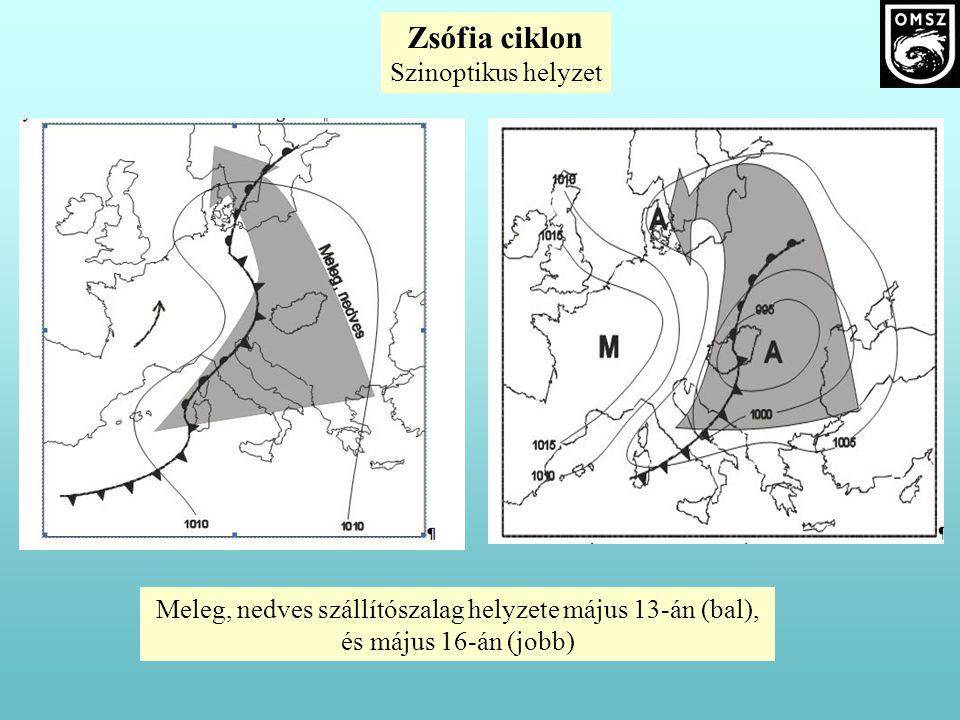 Zsófia ciklon Szinoptikus helyzet Meleg, nedves szállítószalag helyzete május 13-án (bal), és május 16-án (jobb)