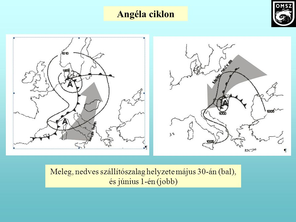 Meleg, nedves szállítószalag helyzete május 30-án (bal), és június 1-én (jobb)