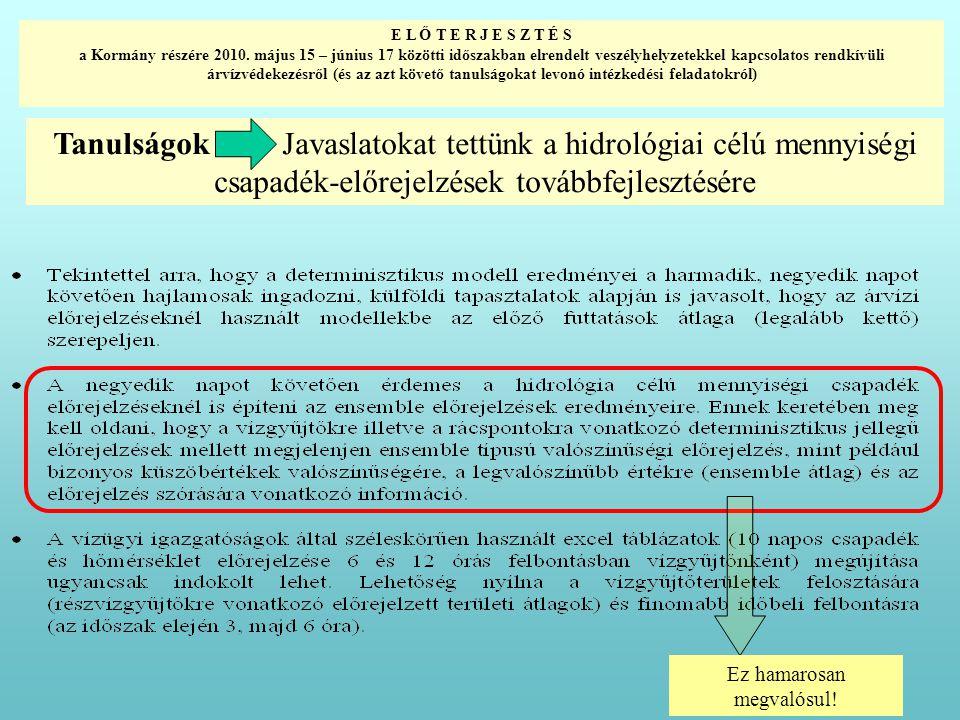 Tanulságok Javaslatokat tettünk a hidrológiai célú mennyiségi csapadék-előrejelzések továbbfejlesztésére E L Ő T E R J E S Z T É S a Kormány részére 2010.