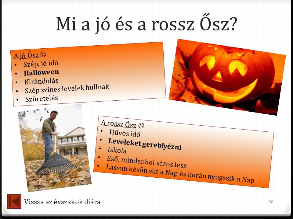 Mi a jó és a rossz Ősz? 10 A jó Ősz  • Szép, jó idő • Halloween • Kirándulás • Szép színes levelek hullnak • Szüretelés A rossz Ősz  • Hűvös idő • L
