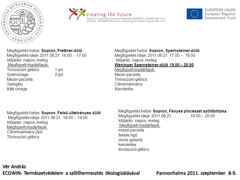 Vér András ECOWIN- Természetvédelem a szőlőtermesztés ökologizálásával Pannonhalma 2011.