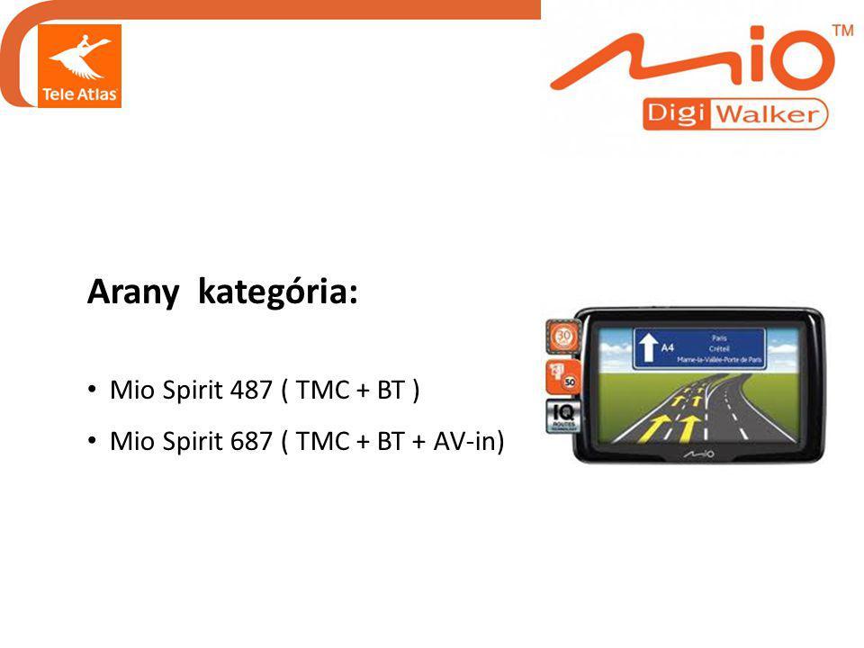 Arany kategória: • Mio Spirit 487 ( TMC + BT ) • Mio Spirit 687 ( TMC + BT + AV-in)