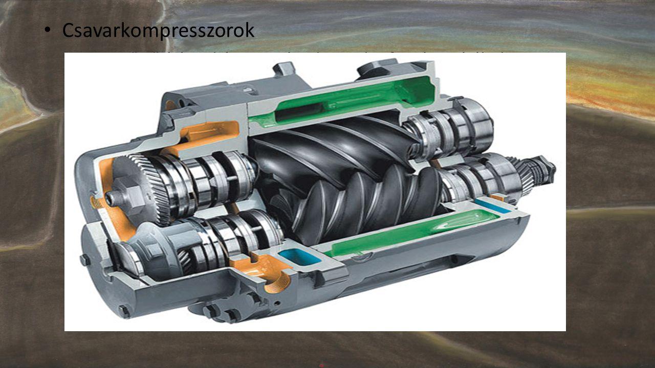 • Csavarkompresszorok – Levegő sűrítése: két egymással szembe forgó orsó által – Segédanyag: olajfilm – Meghajtás: villanymotor