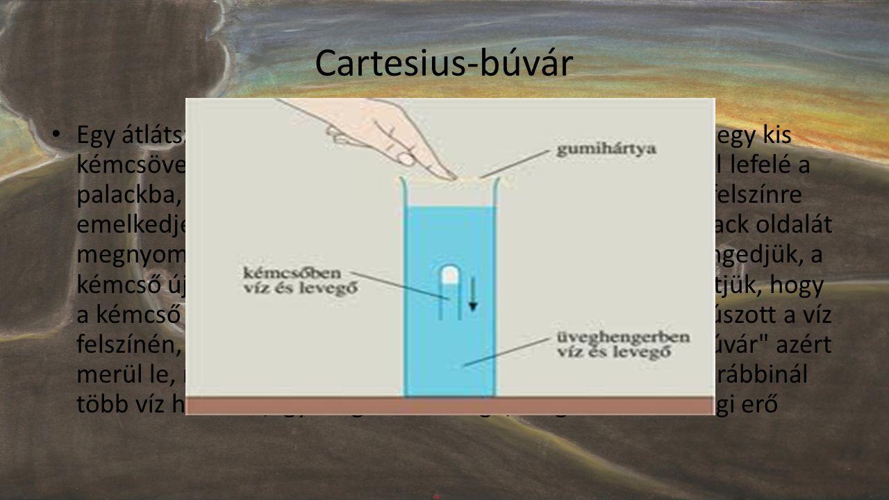 Cartesius-búvár • Egy átlátszó műanyag palackot megtöltünk vízzel. Ezután egy kis kémcsövet, félig vízzel megtöltve, belefordítunk nyílásával lefelé a