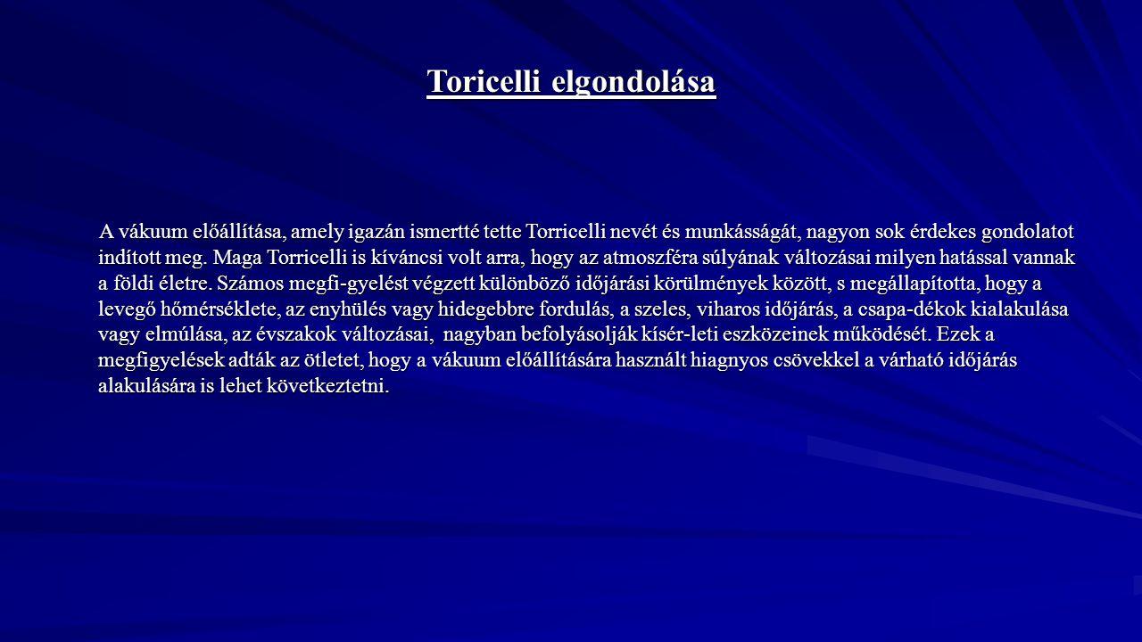 Toricelli elgondolása A vákuum előállítása, amely igazán ismertté tette Torricelli nevét és munkásságát, nagyon sok érdekes gondolatot indított meg. M