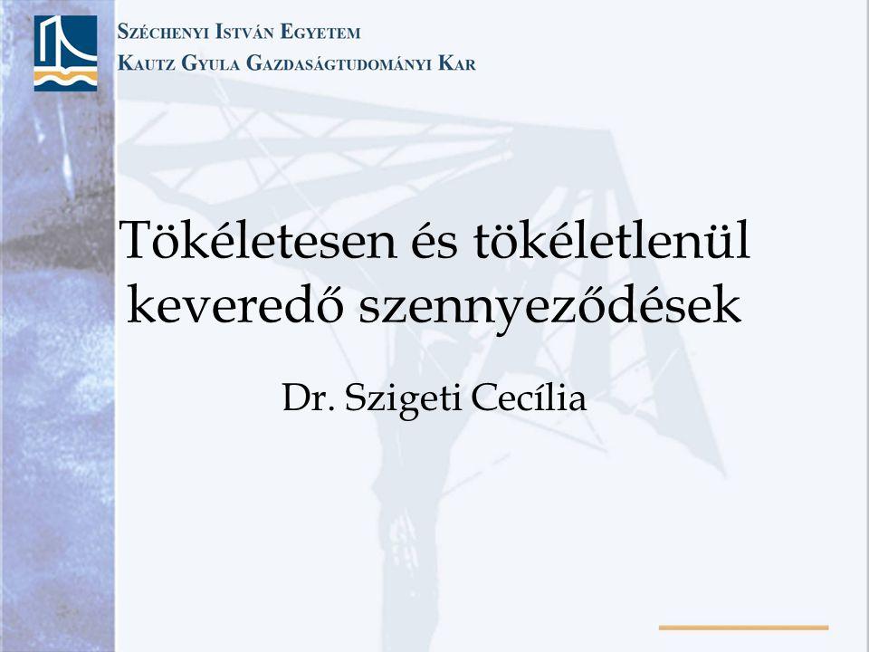 Tökéletesen és tökéletlenül keveredő szennyeződések Dr. Szigeti Cecília