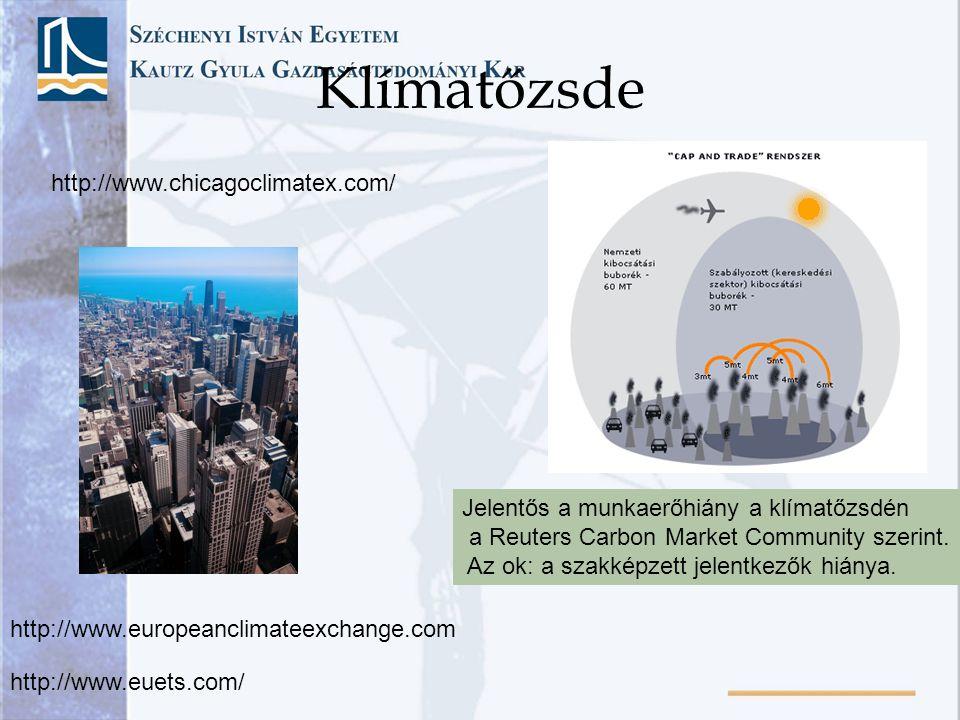 Klímatőzsde http://www.chicagoclimatex.com/ http://www.europeanclimateexchange.com Jelentős a munkaerőhiány a klímatőzsdén a Reuters Carbon Market Com