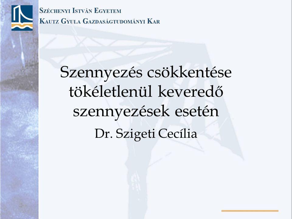 Szennyezés csökkentése tökéletlenül keveredő szennyezések esetén Dr. Szigeti Cecília