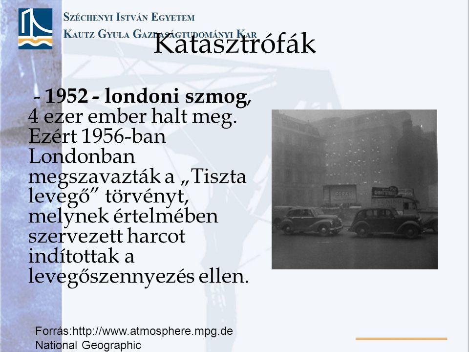 """Katasztrófák - 1952 - londoni szmog, 4 ezer ember halt meg. Ezért 1956-ban Londonban megszavazták a """"Tiszta levegő"""" törvényt, melynek értelmében szerv"""