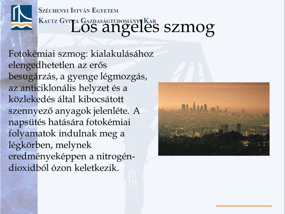 Los angeles szmog Fotokémiai szmog: kialakulásához elengedhetetlen az erős besugárzás, a gyenge légmozgás, az anticiklonális helyzet és a közlekedés á