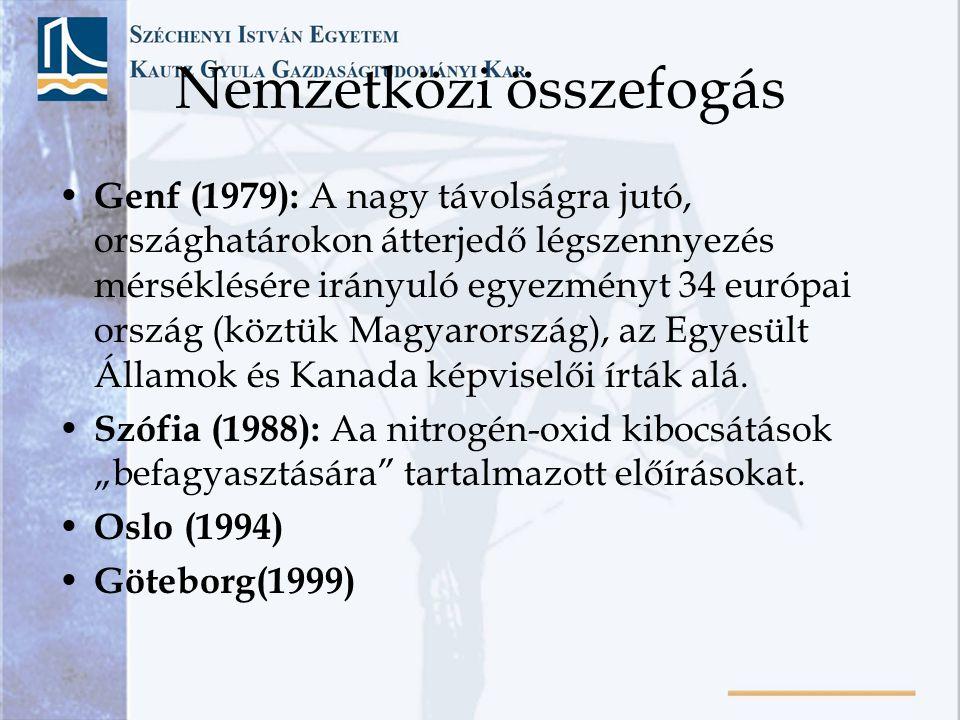 Nemzetközi összefogás • Genf (1979): A nagy távolságra jutó, országhatárokon átterjedő légszennyezés mérséklésére irányuló egyezményt 34 európai orszá