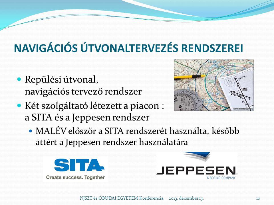 NAVIGÁCIÓS ÚTVONALTERVEZÉS RENDSZEREI  Repülési útvonal, navigációs tervező rendszer  Két szolgáltató létezett a piacon : a SITA és a Jeppesen rends