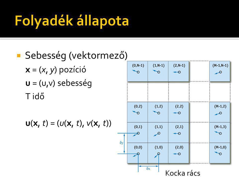  Sebesség (vektormező) x = (x, y) pozíció u = (u,v) sebesség T idő u(x, t) = (u(x, t), v(x, t)) Kocka rács