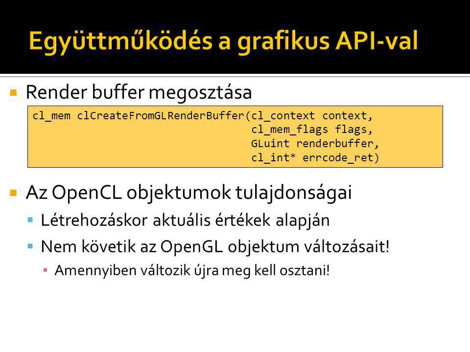  Render buffer megosztása  Az OpenCL objektumok tulajdonságai  Létrehozáskor aktuális értékek alapján  Nem követik az OpenGL objektum változásait.