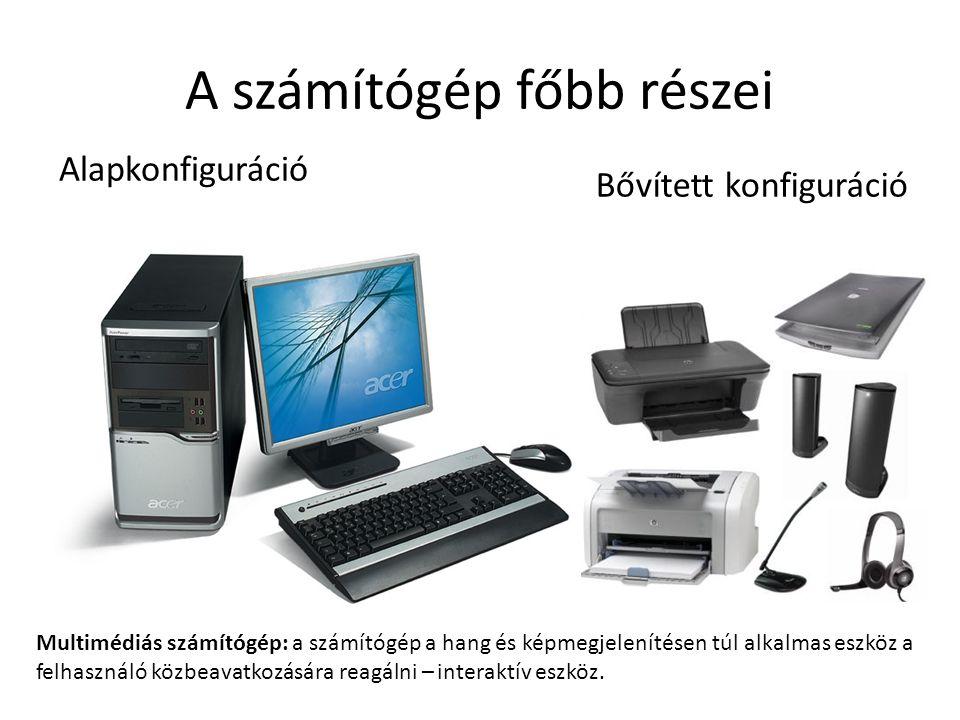 A számítógép főbb részei Alapkonfiguráció Bővített konfiguráció Multimédiás számítógép: a számítógép a hang és képmegjelenítésen túl alkalmas eszköz a