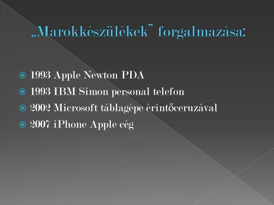  1993 Apple Newton PDA  1993 IBM Simon personal telefon  2002 Microsoft táblagépe érint ő ceruzával  2007 iPhone Apple cég