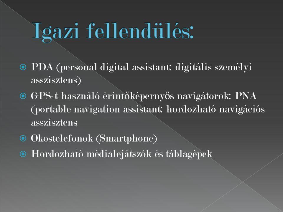  PDA (personal digital assistant: digitális személyi asszisztens)  GPS-t használó érint ő képerny ő s navigátorok: PNA (portable navigation assistant: hordozható navigációs asszisztens  Okostelefonok (Smartphone)  Hordozható médialejátszók és táblagépek