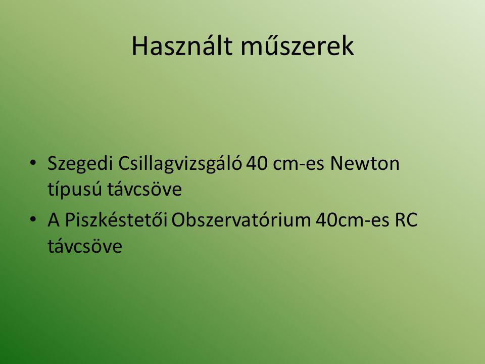 Használt műszerek • Szegedi Csillagvizsgáló 40 cm-es Newton típusú távcsöve • A Piszkéstetői Obszervatórium 40cm-es RC távcsöve