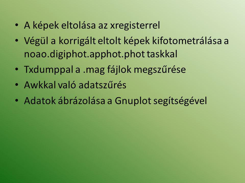 • A képek eltolása az xregisterrel • Végül a korrigált eltolt képek kifotometrálása a noao.digiphot.apphot.phot taskkal • Txdumppal a.mag fájlok megszűrése • Awkkal való adatszűrés • Adatok ábrázolása a Gnuplot segítségével