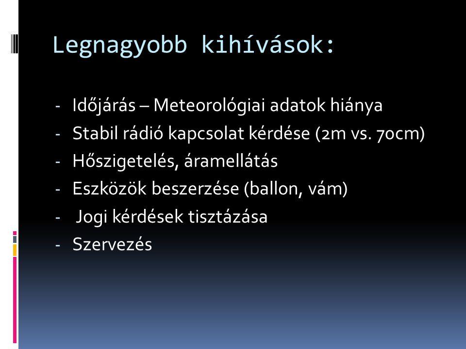 Legnagyobb kihívások: - Időjárás – Meteorológiai adatok hiánya - Stabil rádió kapcsolat kérdése (2m vs. 70cm) - Hőszigetelés, áramellátás - Eszközök b