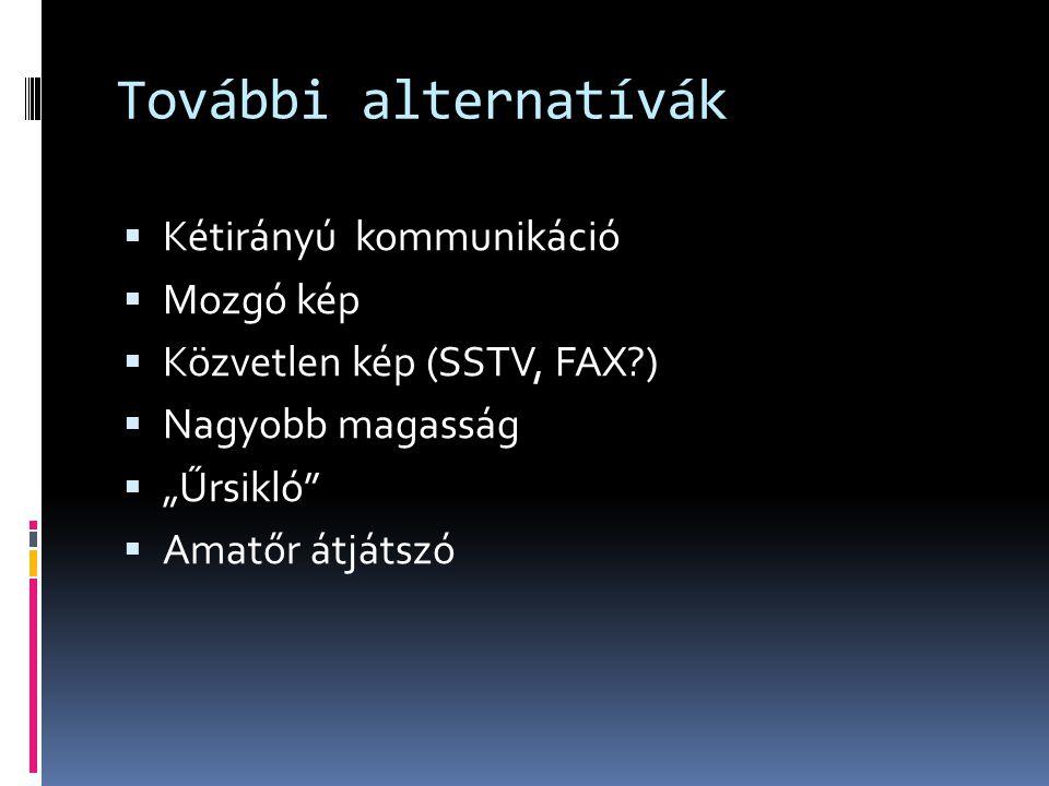 """További alternatívák  Kétirányú kommunikáció  Mozgó kép  Közvetlen kép (SSTV, FAX?)  Nagyobb magasság  """"Űrsikló""""  Amatőr átjátszó"""