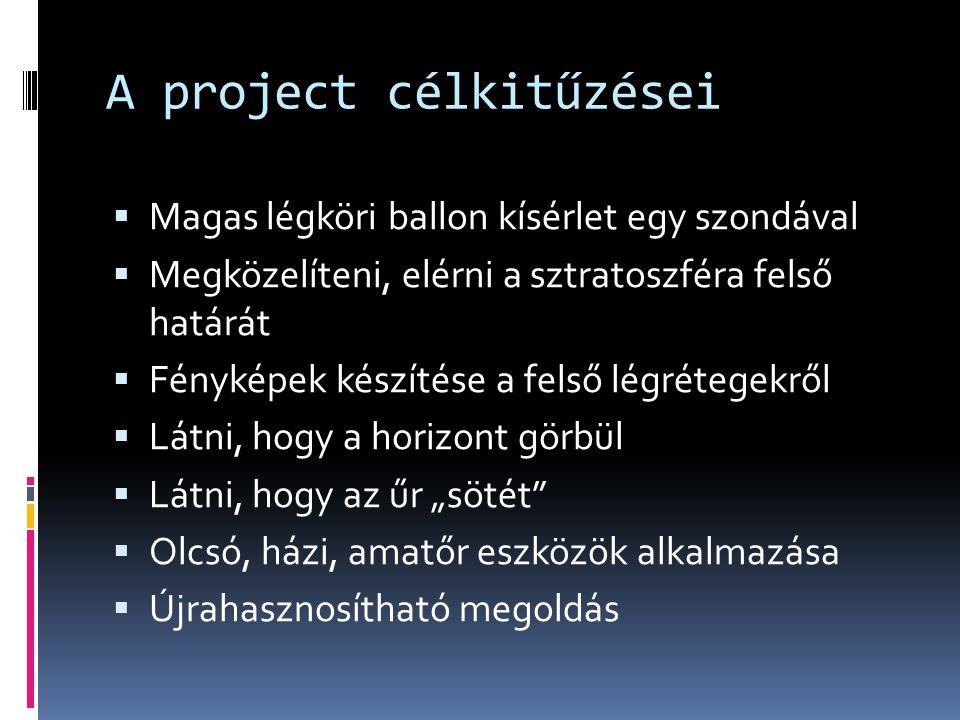 A project célkitűzései  Magas légköri ballon kísérlet egy szondával  Megközelíteni, elérni a sztratoszféra felső határát  Fényképek készítése a fel