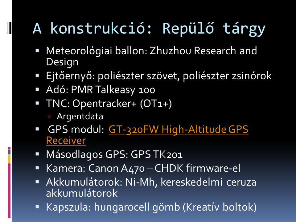 A konstrukció: Repülő tárgy  Meteorológiai ballon: Zhuzhou Research and Design  Ejtőernyő: poliészter szövet, poliészter zsinórok  Adó: PMR Talkeas