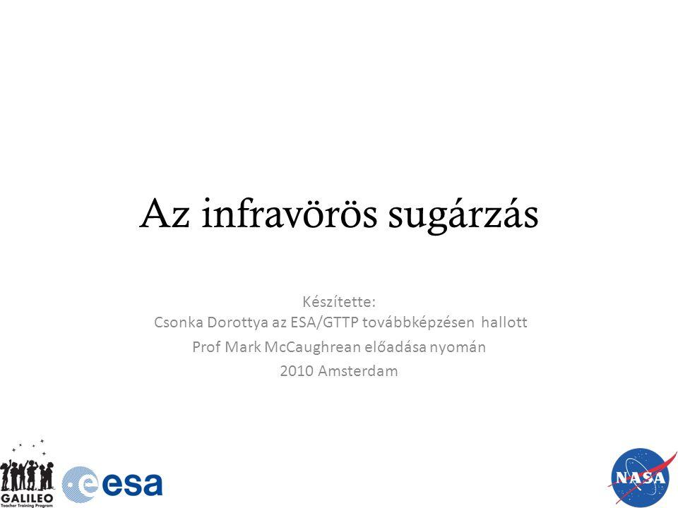 Az infravörös sugárzás Készítette: Csonka Dorottya az ESA/GTTP továbbképzésen hallott Prof Mark McCaughrean előadása nyomán 2010 Amsterdam