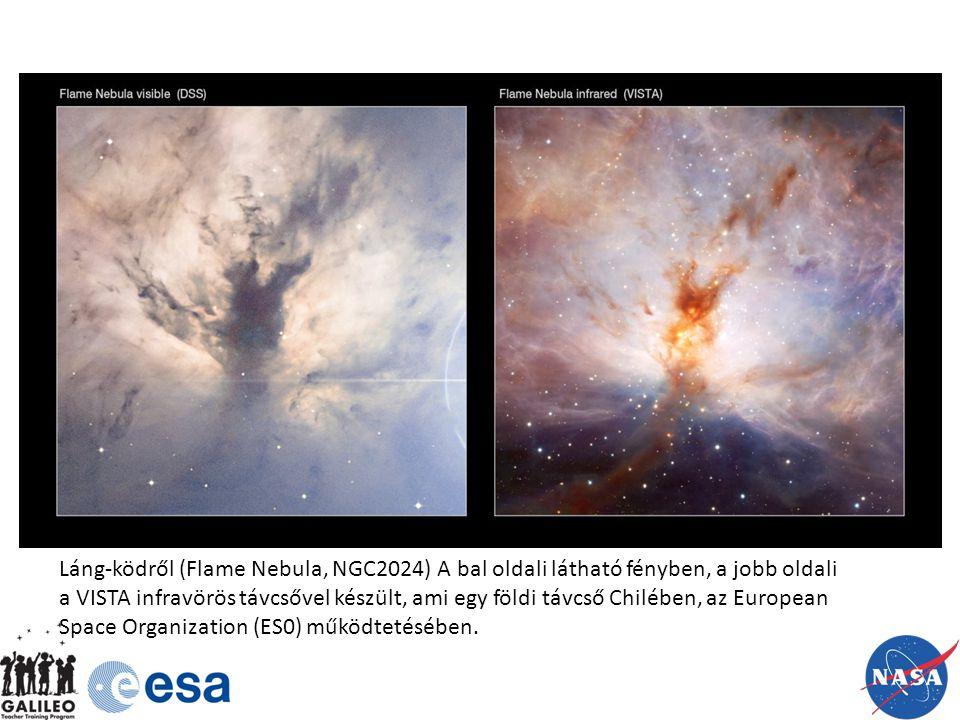 Láng-ködről (Flame Nebula, NGC2024) A bal oldali látható fényben, a jobb oldali a VISTA infravörös távcsővel készült, ami egy földi távcső Chilében, az European Space Organization (ES0) működtetésében.