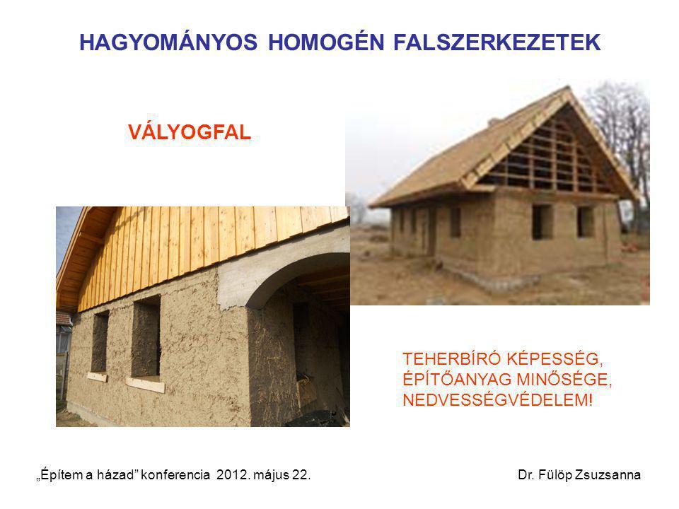 """HAGYOMÁNYOS HOMOGÉN FALSZERKEZETEK VÁLYOGFAL TEHERBÍRÓ KÉPESSÉG, ÉPÍTŐANYAG MINŐSÉGE, NEDVESSÉGVÉDELEM! """"Építem a házad"""" konferencia 2012. május 22. D"""