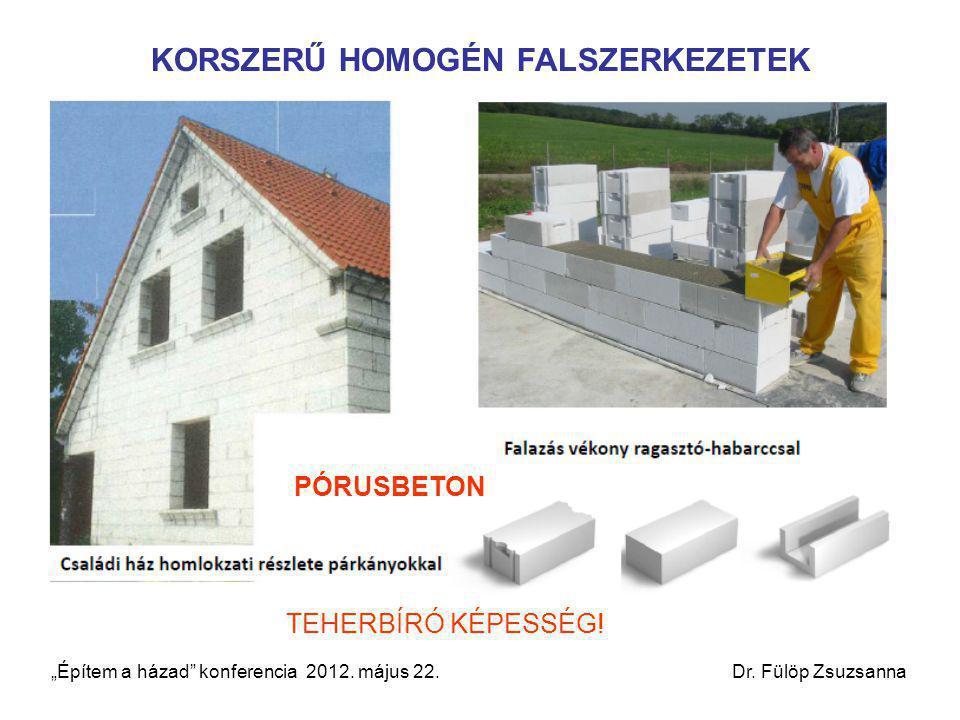 """KORSZERŰ HOMOGÉN FALSZERKEZETEK PÓRUSBETON TEHERBÍRÓ KÉPESSÉG! """"Építem a házad"""" konferencia 2012. május 22. Dr. Fülöp Zsuzsanna"""