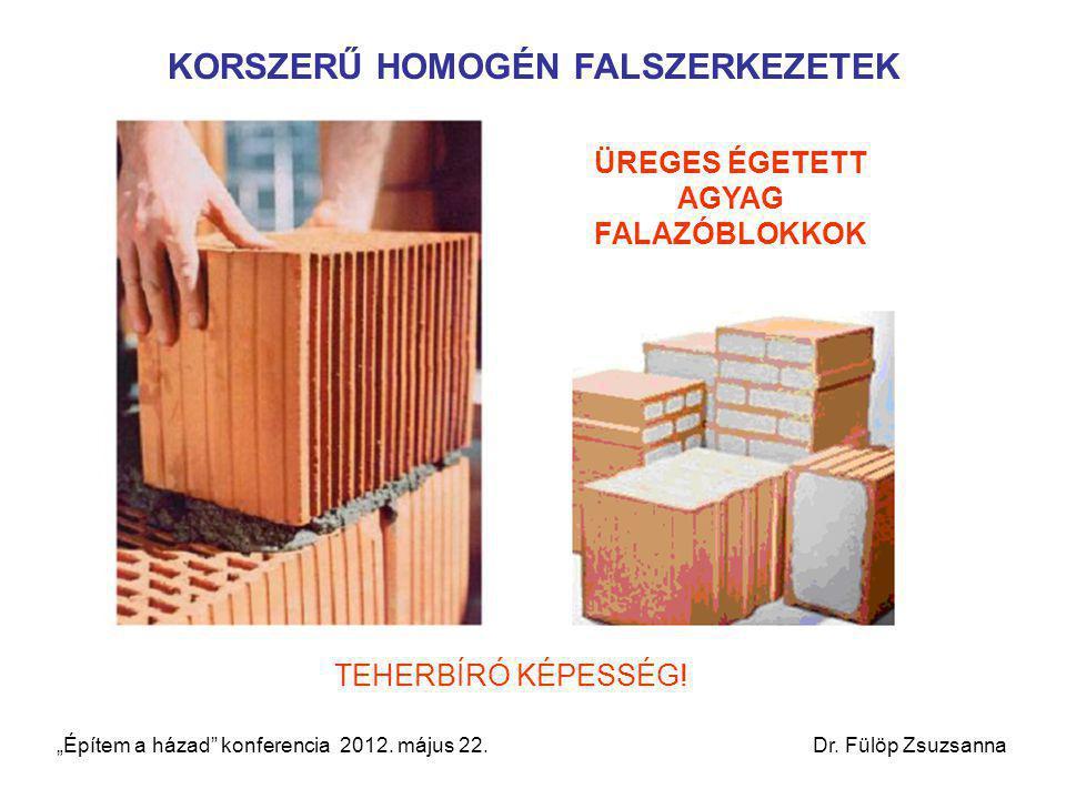 """KORSZERŰ HOMOGÉN FALSZERKEZETEK ÜREGES ÉGETETT AGYAG FALAZÓBLOKKOK TEHERBÍRÓ KÉPESSÉG! """"Építem a házad"""" konferencia 2012. május 22. Dr. Fülöp Zsuzsann"""