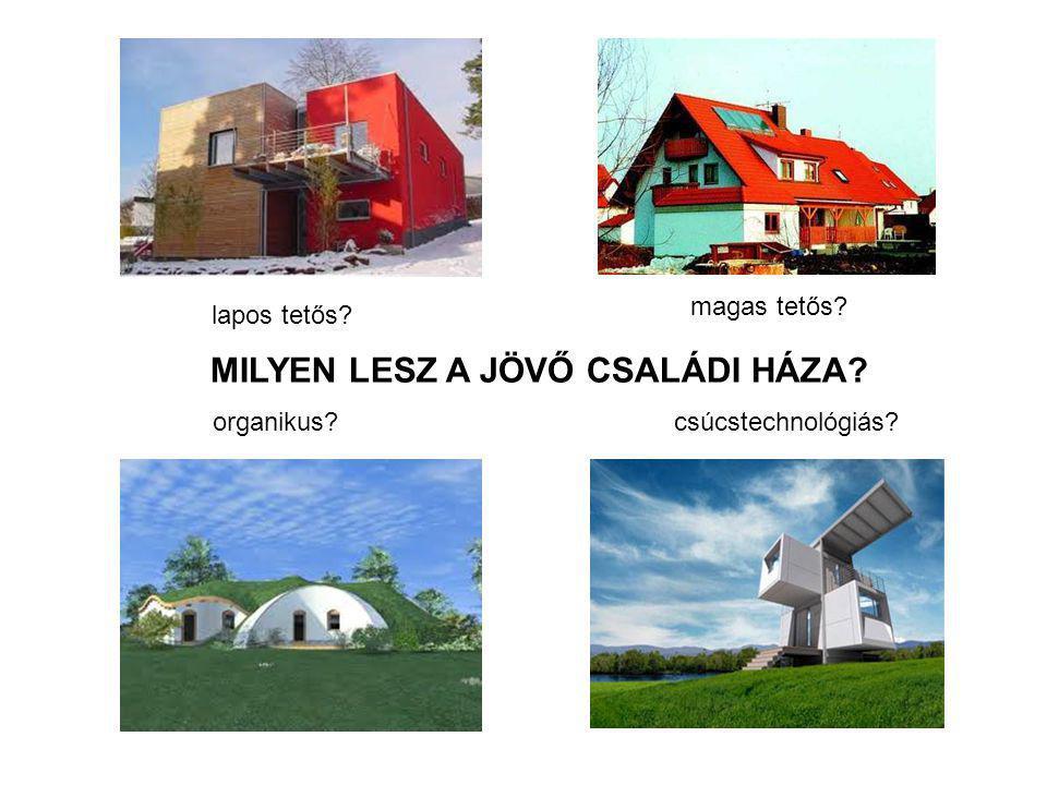 MILYEN LESZ A JÖVŐ CSALÁDI HÁZA? 2012.április 20. Fülöp Zsuzsanna Ph.D lapos tetős? magas tetős? organikus?csúcstechnológiás?