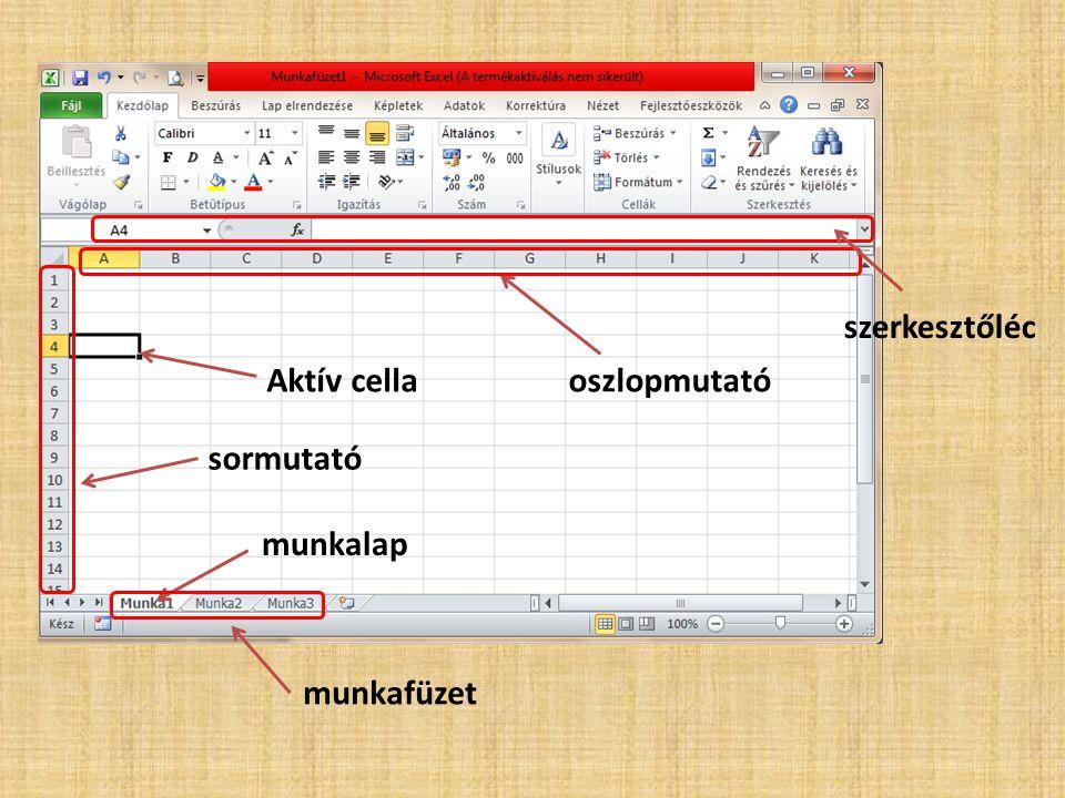 Mozgás a munkalapon Kurzor nyilakkal (lassú) CTRL +  : a legalsó sorba ugrunk CTRL +  : az utolsó oszlopba ugrunk Értelemszerűen a CTRL +   gombok