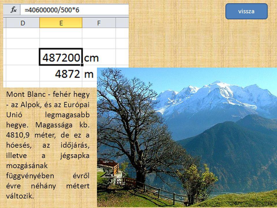 Mont Blanc - fehér hegy - az Alpok, és az Európai Unió legmagasabb hegye. Magassága kb. 4810,9 méter, de ez a hóesés, az időjárás, illetve a jégsapka