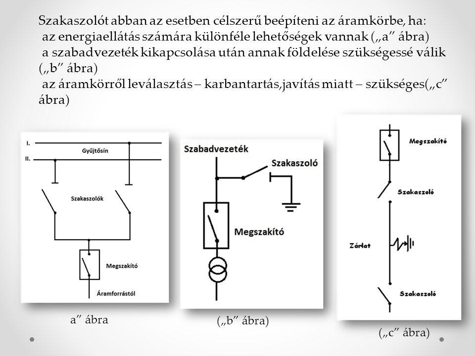 """Szakaszolót abban az esetben célszerű beépíteni az áramkörbe, ha: az energiaellátás számára különféle lehetőségek vannak (""""a"""" ábra) a szabadvezeték ki"""