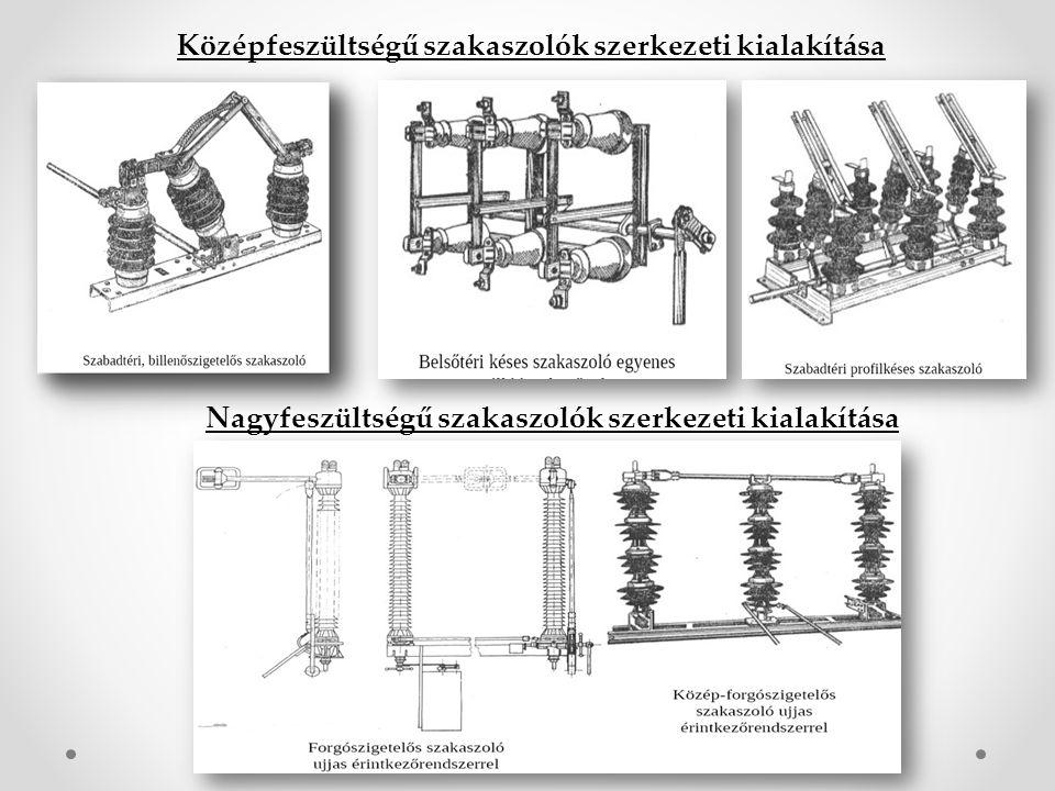 Középfeszültségű szakaszolók szerkezeti kialakítása Nagyfeszültségű szakaszolók szerkezeti kialakítása