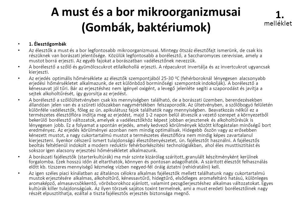 A must és a bor mikroorganizmusai (Gombák, baktériumok) • 1. Élesztőgombák • Az élesztők a must és a bor legfontosabb mikroorganizmusai. Mintegy ötszá