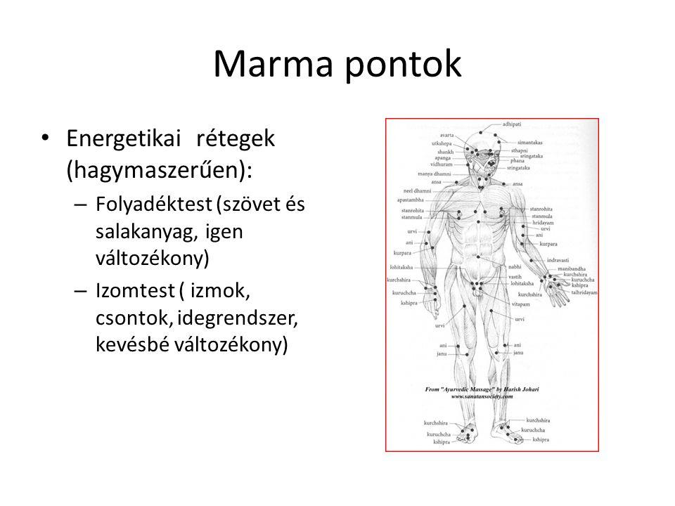 Marma pontok • Energetikai rétegek (hagymaszerűen): – Folyadéktest (szövet és salakanyag, igen változékony) – Izomtest ( izmok, csontok, idegrendszer,