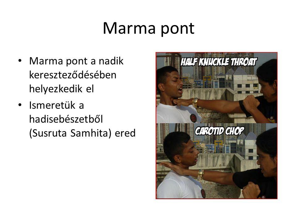 Marma pont • Marma pont a nadik kereszteződésében helyezkedik el • Ismeretük a hadisebészetből (Susruta Samhita) ered