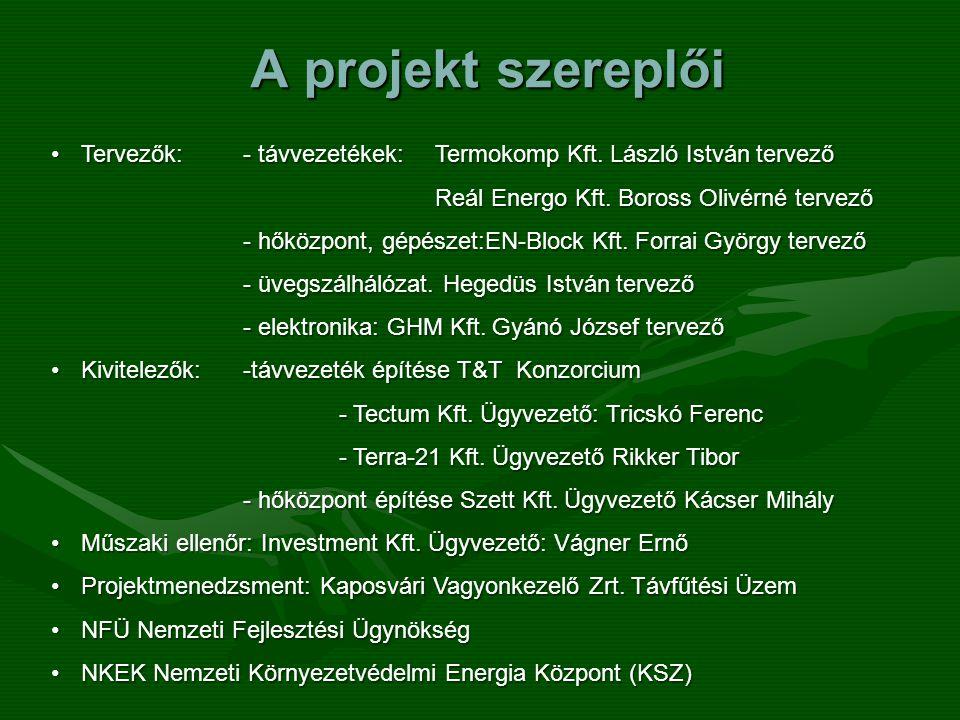 A projekt szereplői •Tervezők:- távvezetékek: Termokomp Kft. László István tervező Reál Energo Kft. Boross Olivérné tervező - hőközpont, gépészet:EN-B