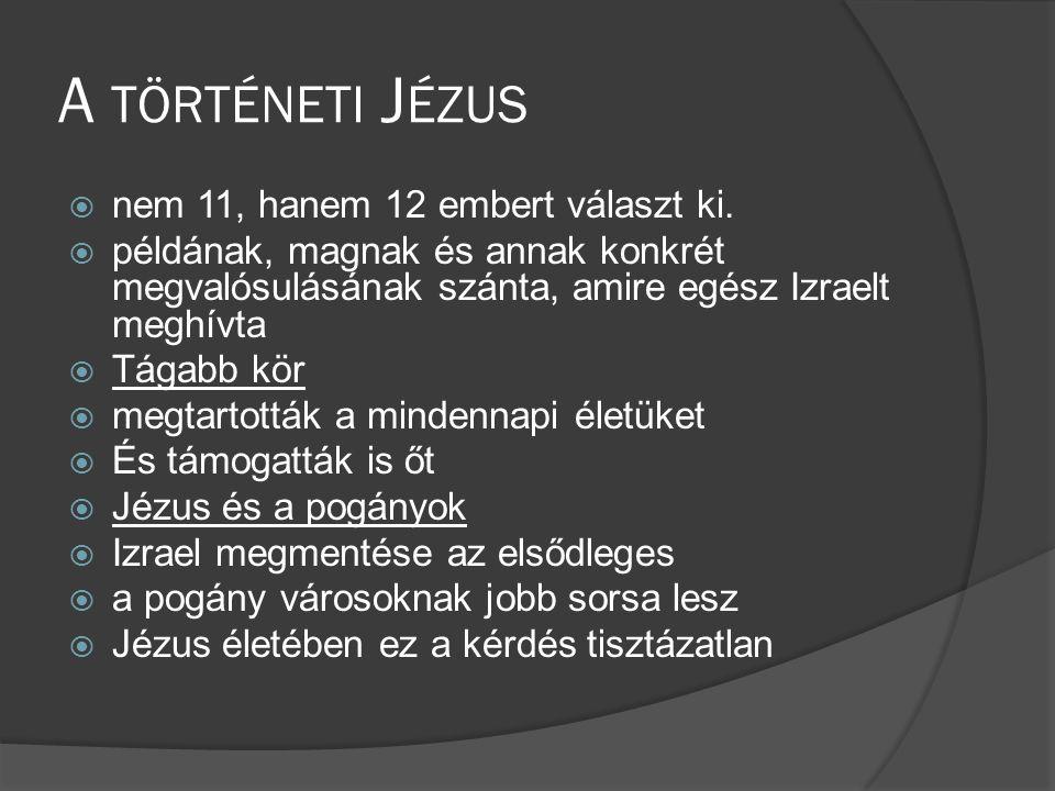 A TÖRTÉNETI J ÉZUS  nem 11, hanem 12 embert választ ki.