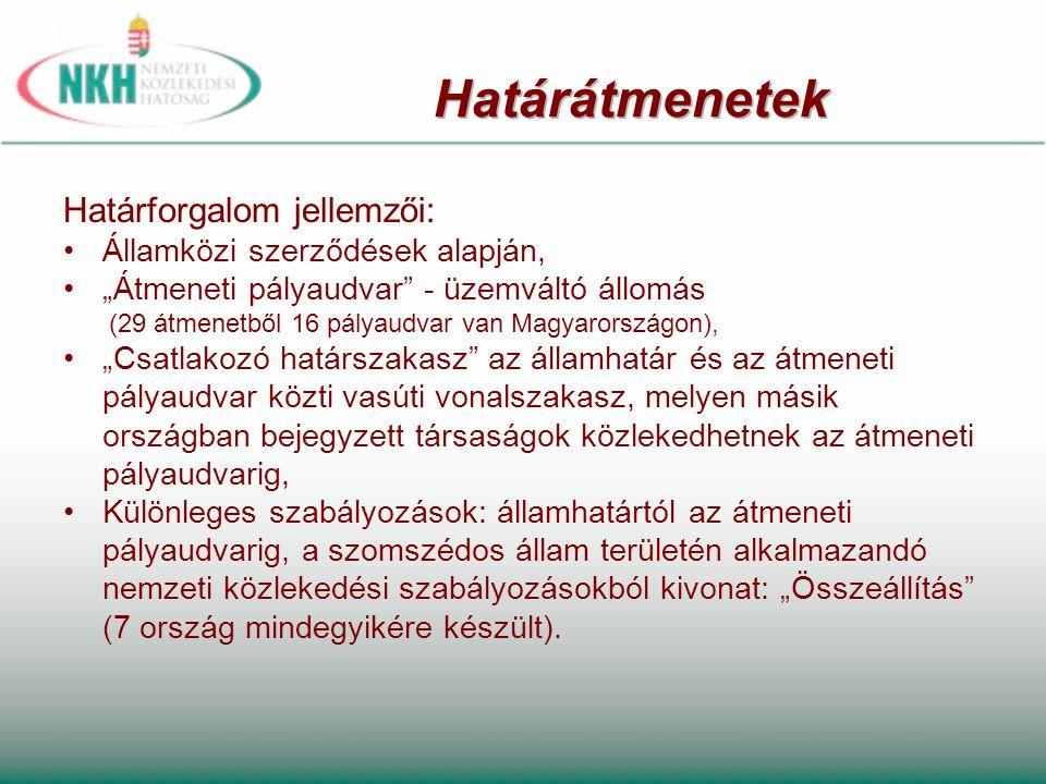 """Határforgalom jellemzői: •Államközi szerződések alapján, •""""Átmeneti pályaudvar"""" - üzemváltó állomás (29 átmenetből 16 pályaudvar van Magyarországon),"""