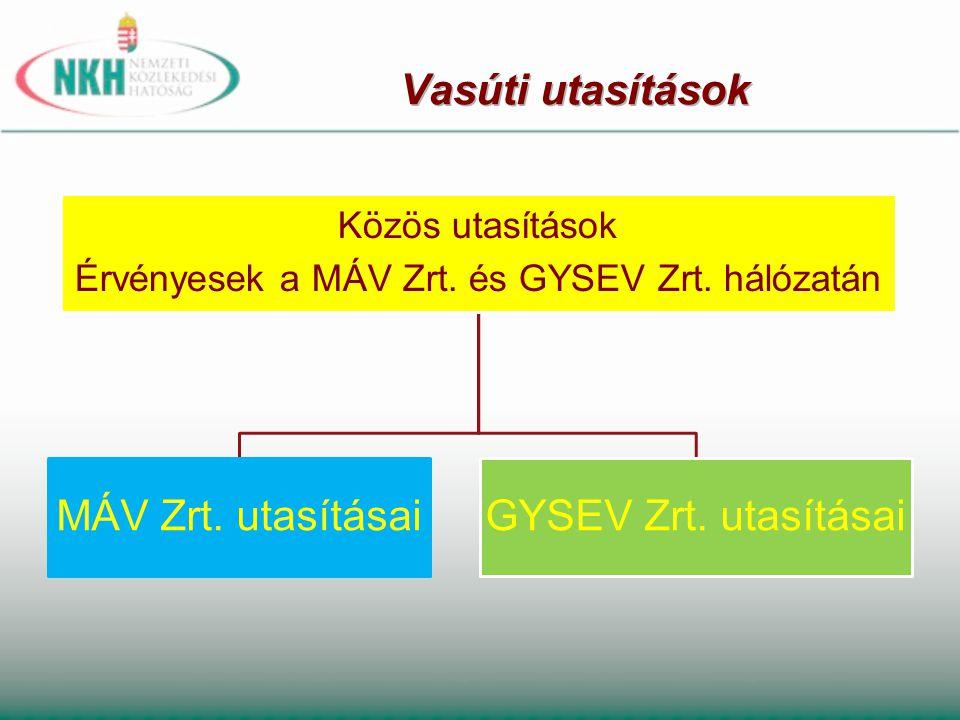 Közös utasítások Érvényesek a MÁV Zrt. és GYSEV Zrt. hálózatán MÁV Zrt. utasításaiGYSEV Zrt. utasításai