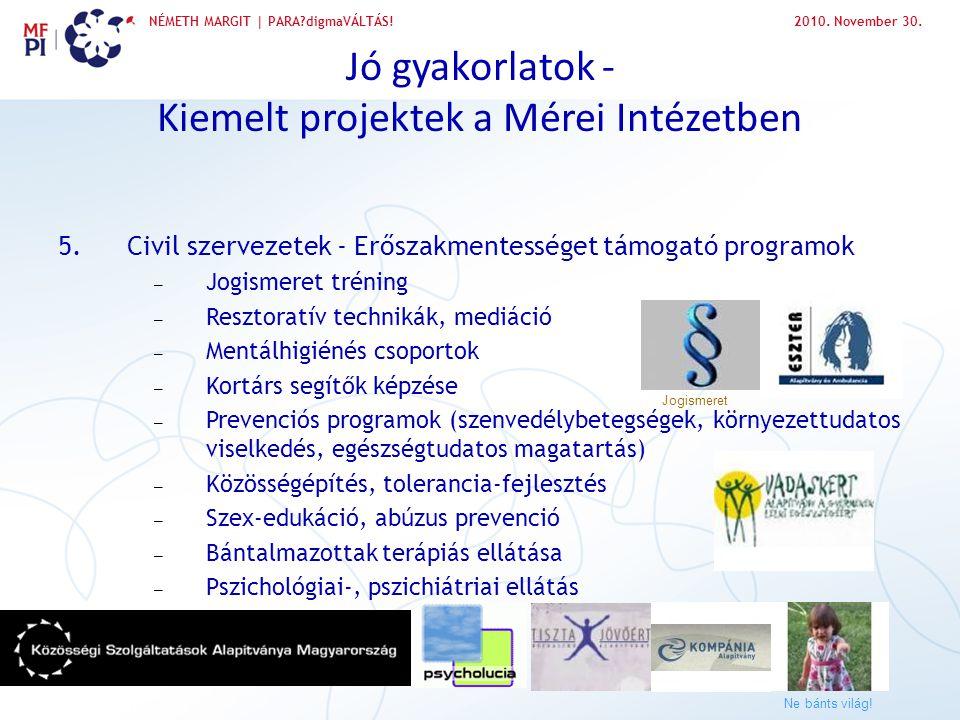 NÉMETH MARGIT | PARA?digmaVÁLTÁS!2010. November 30. Jó gyakorlatok - Kiemelt projektek a Mérei Intézetben 5.Civil szervezetek - Erőszakmentességet tám