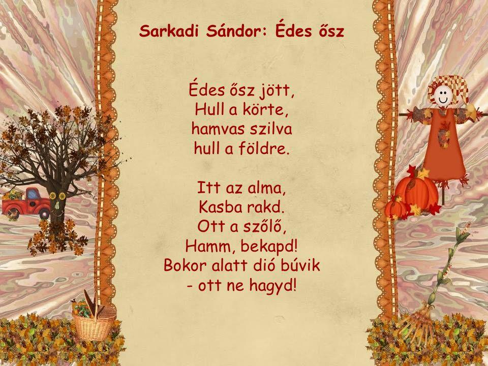 Sarkadi Sándor: Édes ősz Édes ősz jött, Hull a körte, hamvas szilva hull a földre. Itt az alma, Kasba rakd. Ott a szőlő, Hamm, bekapd! Bokor alatt dió