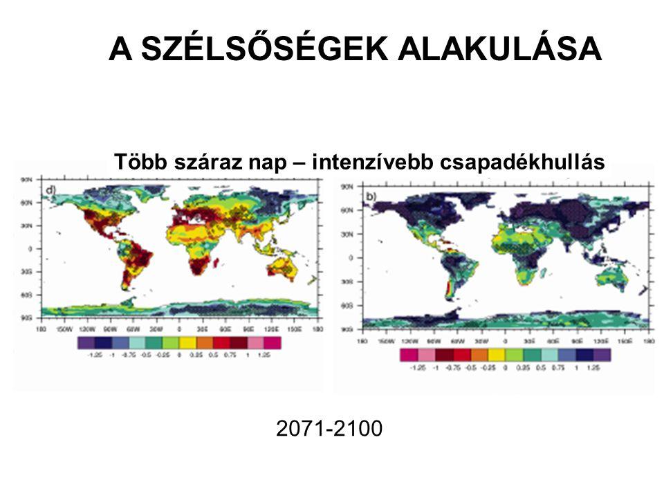 Több száraz nap – intenzívebb csapadékhullás A SZÉLSŐSÉGEK ALAKULÁSA 2071-2100